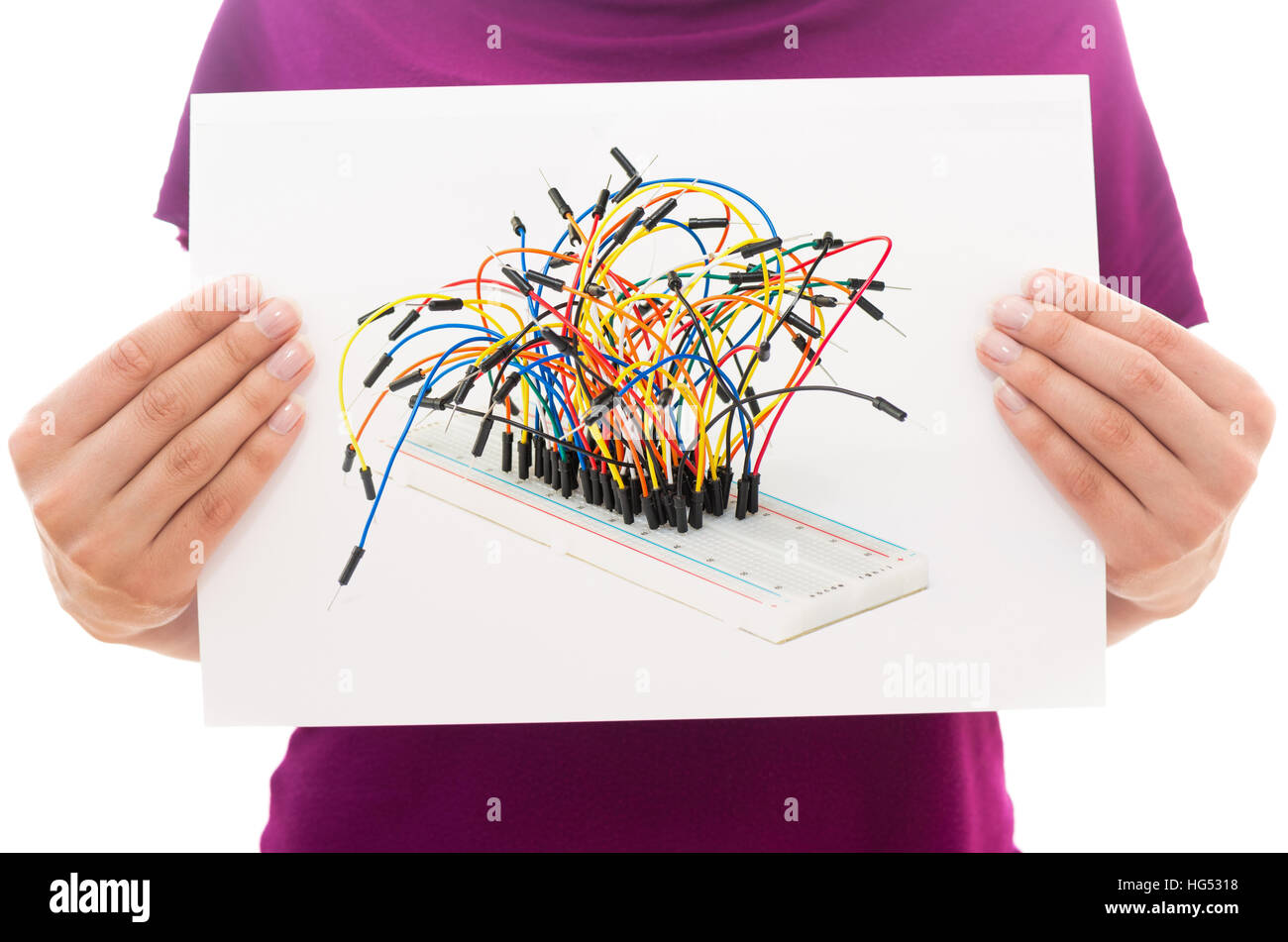Prototyping Board Stock Photos Images Alamy Circuit Artwork Stripboard And Breadboard Layout Girl Holding White Paper Sheet With Photo Of Image