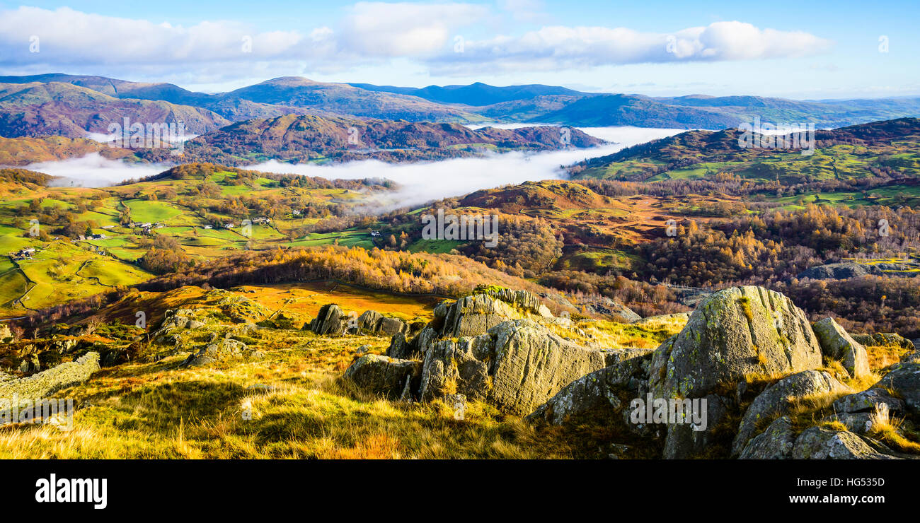 Cloud inversion in the valley of the River Brathay near Ambleside in the Lake District - Stock Image