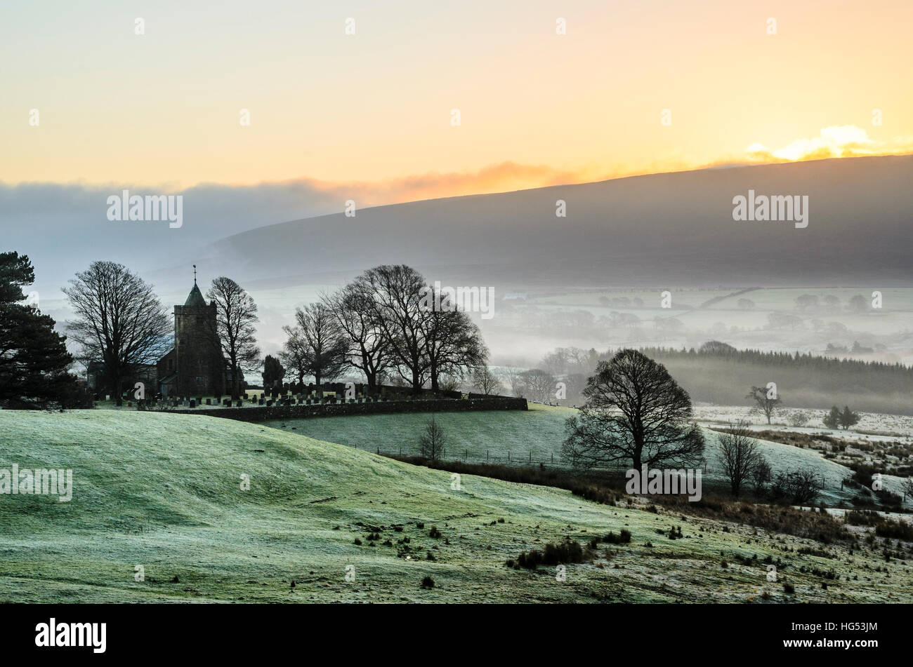 Christ Church, known as The Shepherds' Church, at Over Wyresdale in the Forest of Bowland Lancashire England early - Stock Image