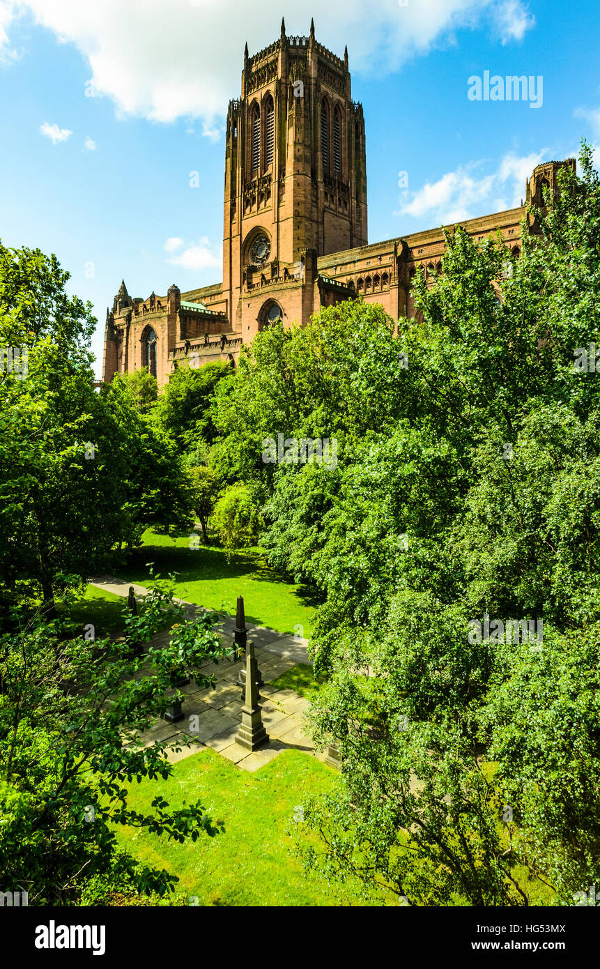 The Anglican Cathedral on St James's Mount Liverpool - Stock Image