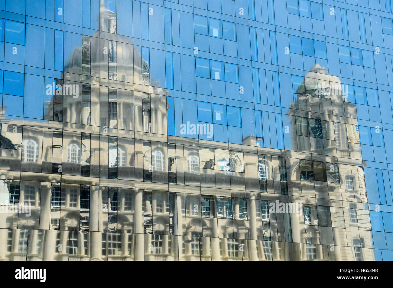 Reflection of the Port of Liverpool Building, one of the 'Three Graces' at Liverpool's famous Pier Head Stock Photo