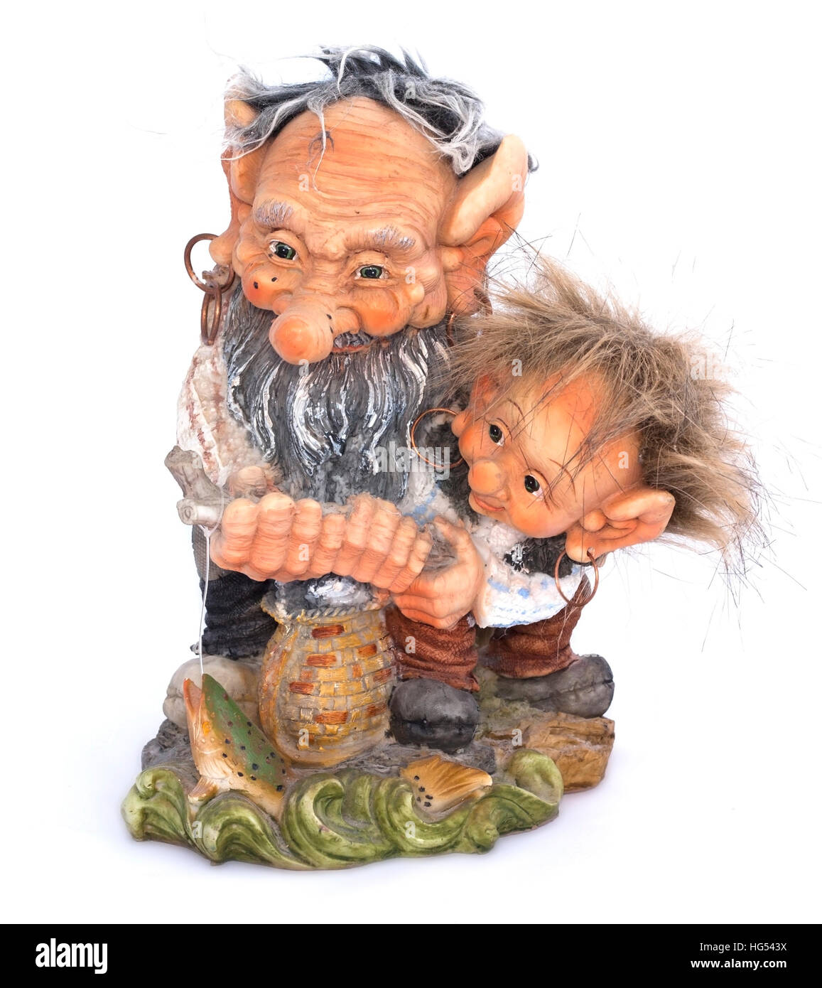 Two fisher troll with fishing rod figurine on a white background - Stock Image