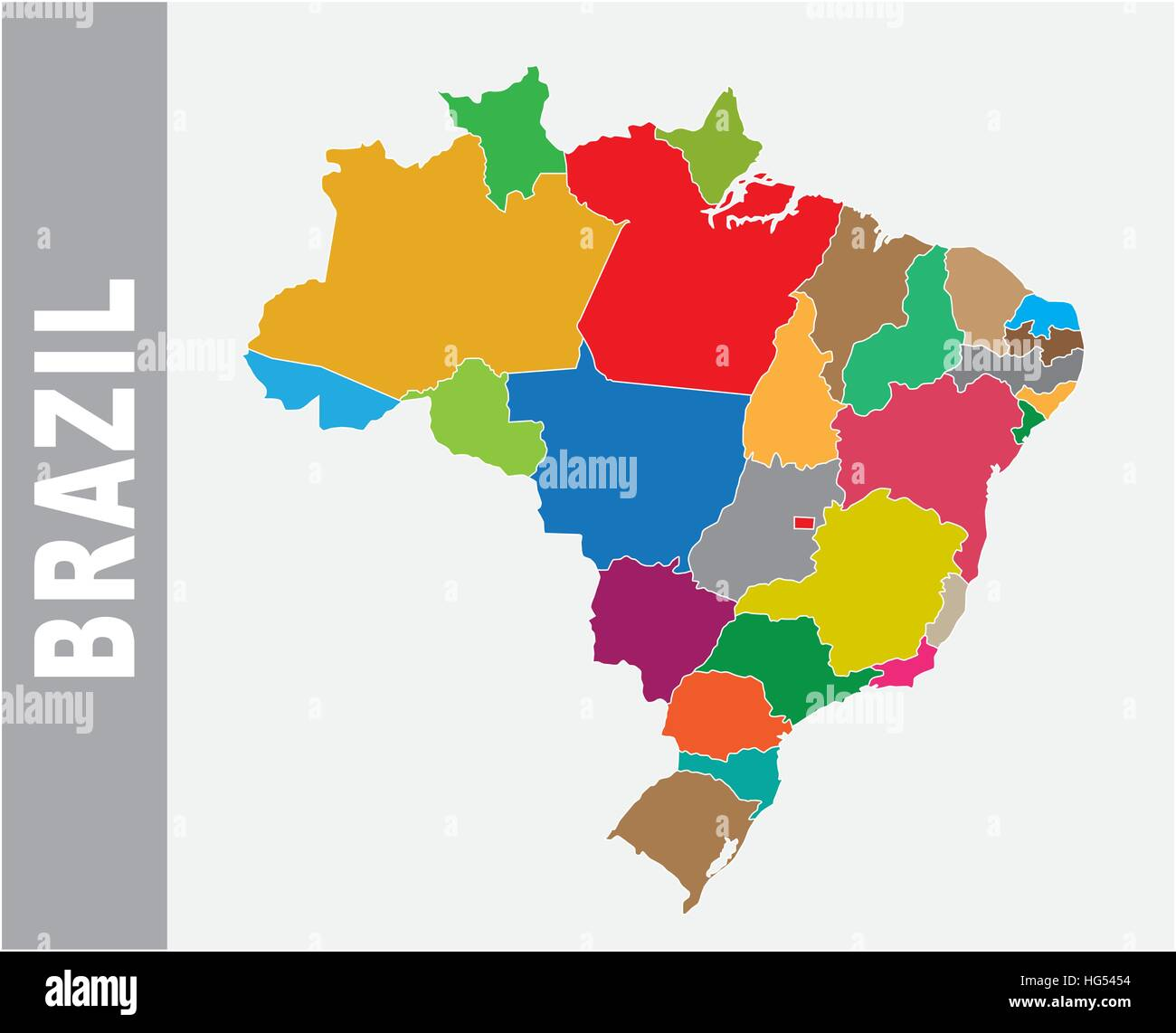 colorful brazil administrative and political vector map stock image
