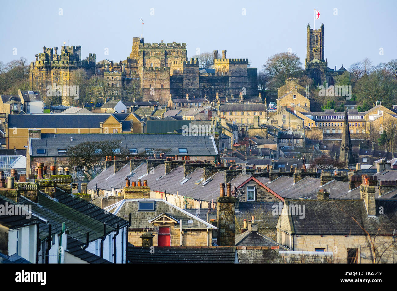 Lancaster Castle and Priory Church Lancaster England seen over the town centre from the east - Stock Image