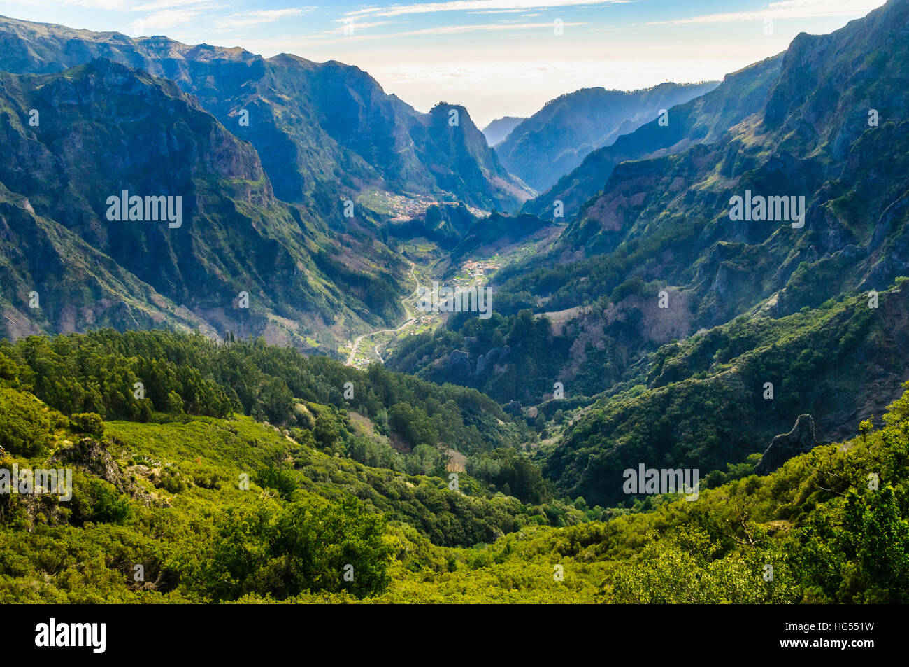 View of the Curral das Freiras valley from the central ridge of Madeira - Stock Image