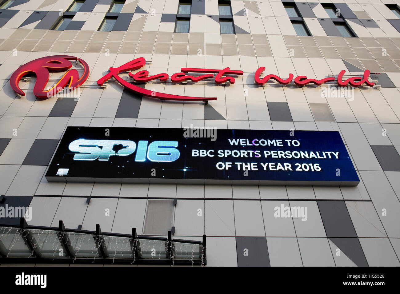 The Genting Resorts World centre, NEC,with signage for the BBC Sports Personality Of The Year awards - Stock Image