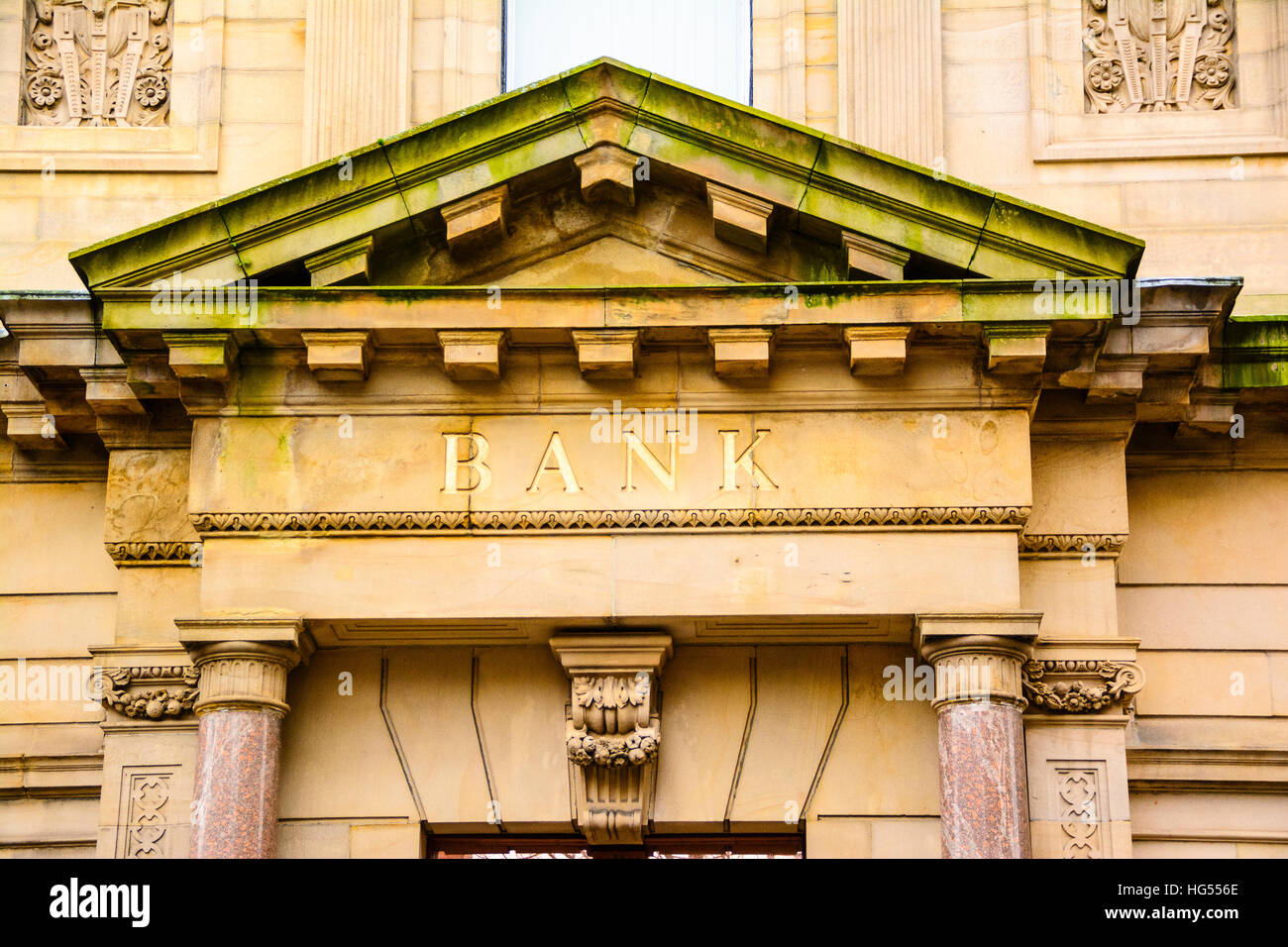 Portico of NatWest Bank in Church Street Lancaster Lancashire England - Stock Image