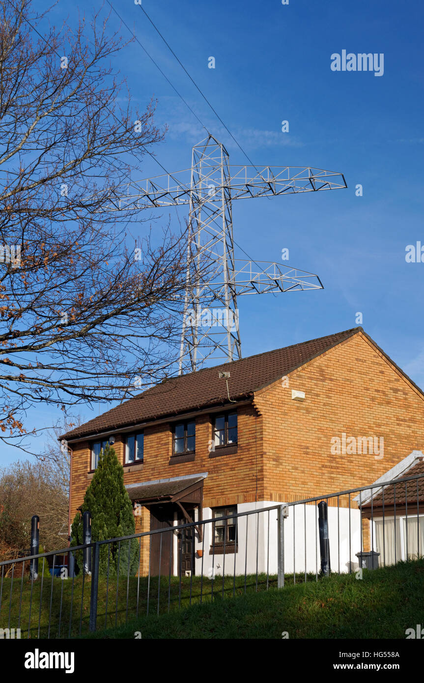 House and high voltage power lines, Whitchurch, Cardiff, Wales Stock ...