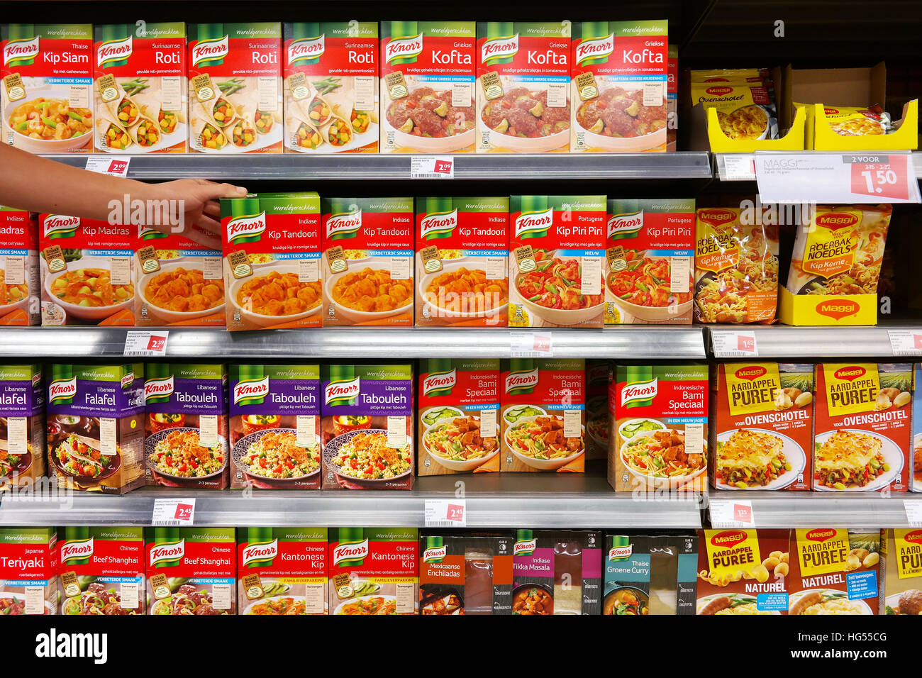 Knorr instant food packings in a supermarket - Stock Image