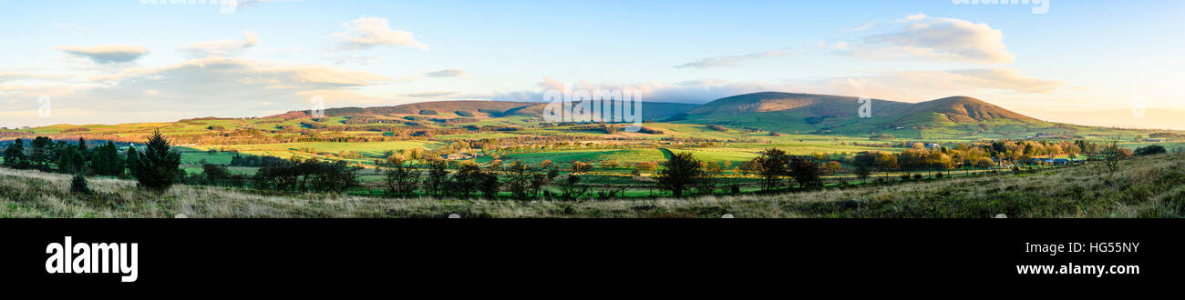 Stitched panorama from Beacon Fell Lancashire over Bleasdale and the Bowland Fells - Stock Image