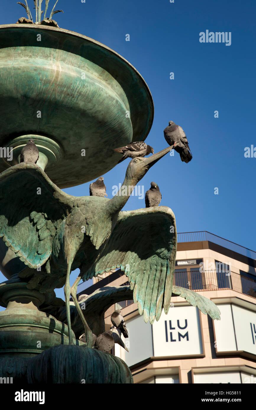 Denmark, Copenhagen, Stroget, Amagertov, Storkespringvandet, 1894 stork fountain - Stock Image