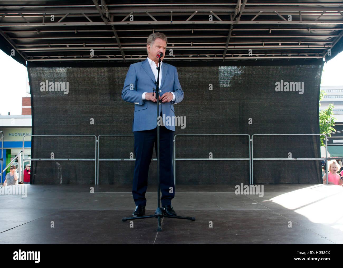Kouvola, Finland - 30 May 2016: Sauli Niinisto, president of Finland visits the town Kouvola on May 30, 2016. Lamminmaki. - Stock Image