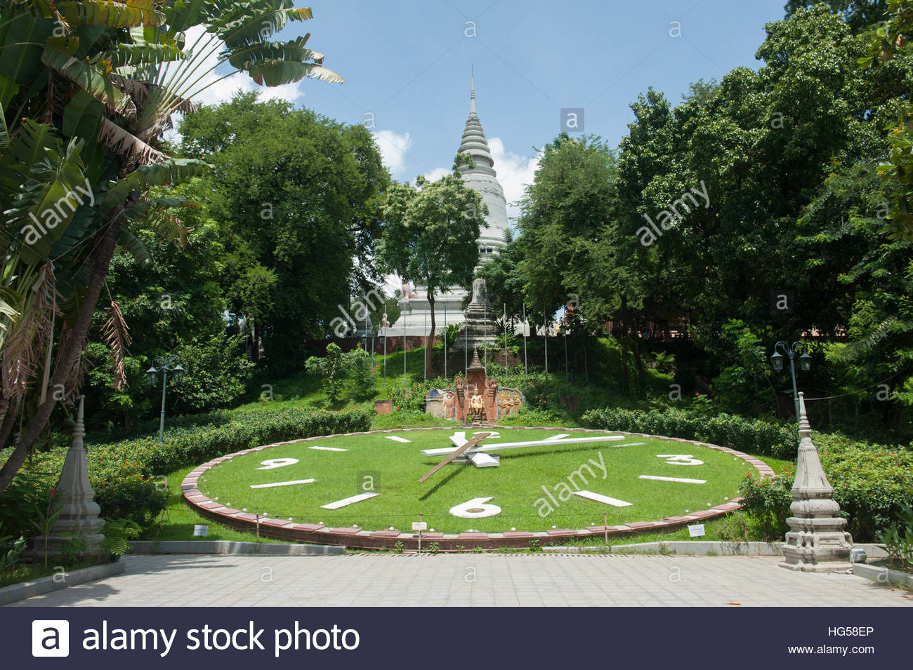 Phnom Penh Cambodia Large Ornamental Garden Clock In The Grounds Of Wat  Phnom.