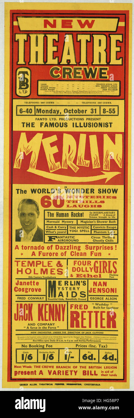 Circus Poster -  New Theatre Crewe _ Fanto Ltd. Productions present the famous illusionist Merlin - Stock Image