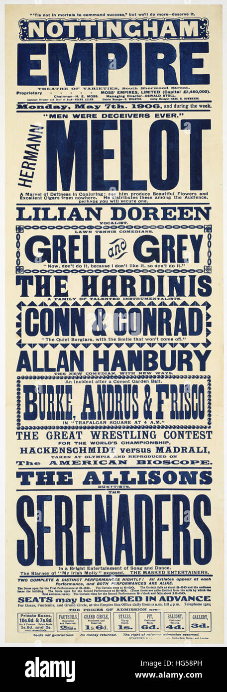 Circus Poster -  Nottingham Empire _ Theatre of varieties, South Sherwood Street. - Stock Image