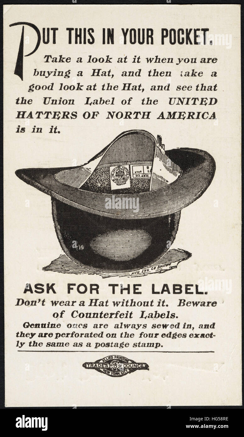 Clothing Trade Cards - Don't buy a hat without a label, and see that it is sewed in. Don't patronize a dealer - Stock Image
