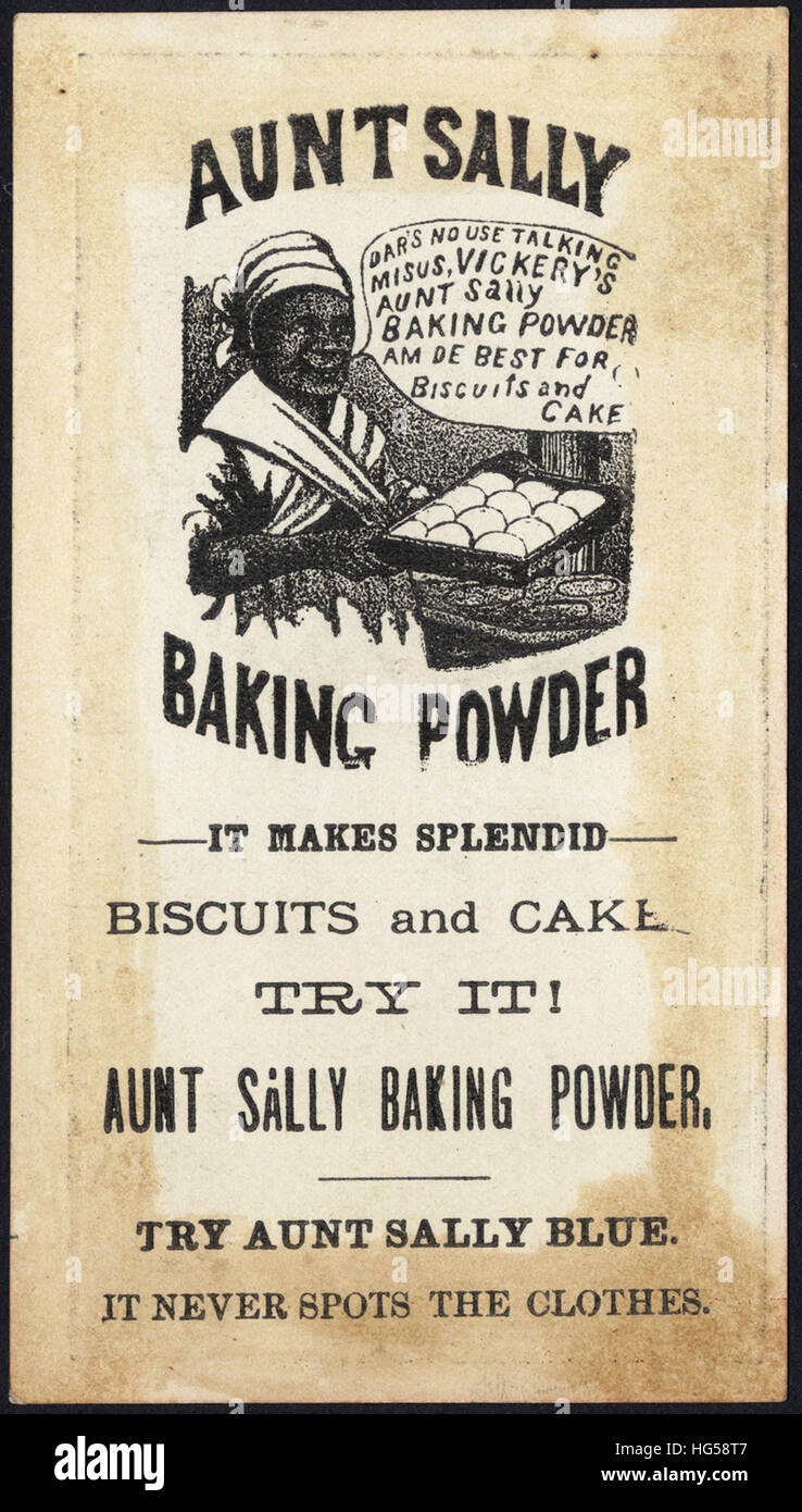 Baking Trade Card -  Try Aunt Sally - rare fun [back] - Stock Image