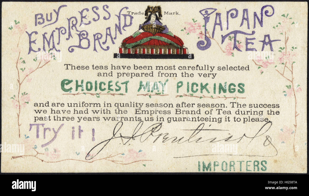 Beverage Trade Cards -  Buy Empress brand Japan Tea - Stock Image