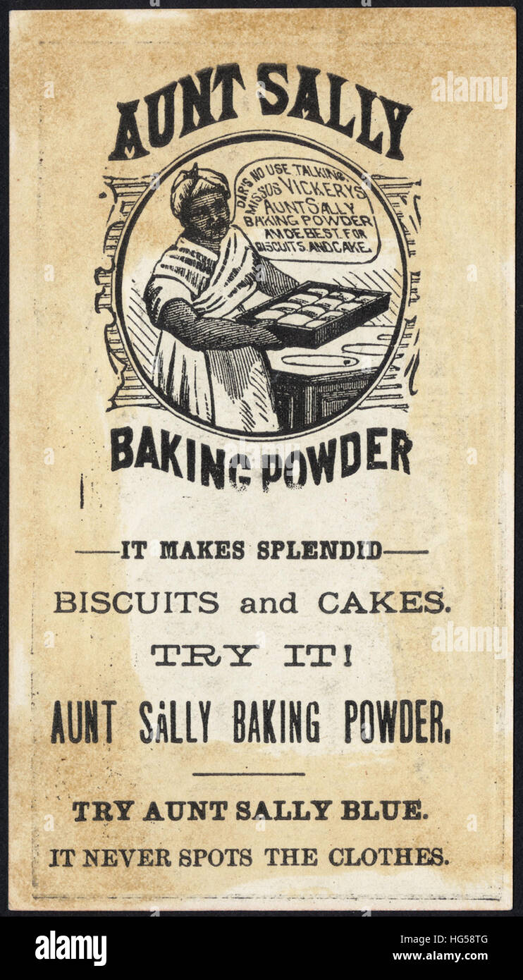 Baking Trade Card -  Try Aunt Sally - pease, Mr. Fox, I is too little [back] - Stock Image