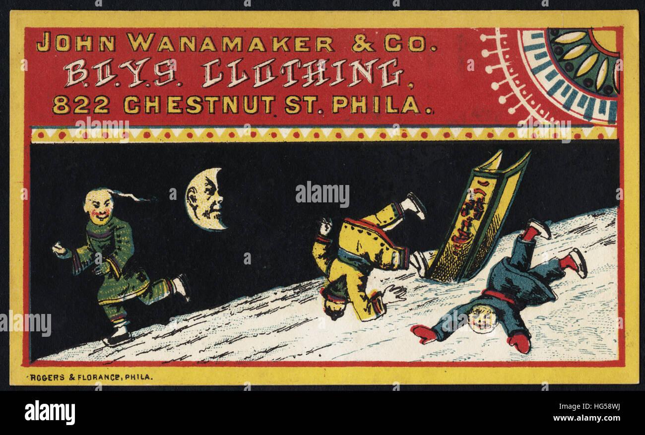 Clothing Trade Cards -  John Wanamaker & Co., B.O.Y.S. Clothing, 822 Chestnut St., Phila. - Stock Image