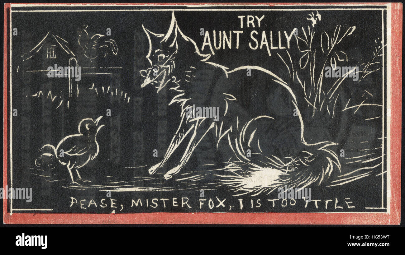 Baking Trade Card -  Try Aunt Sally - pease, Mr. Fox, I is too little - Stock Image
