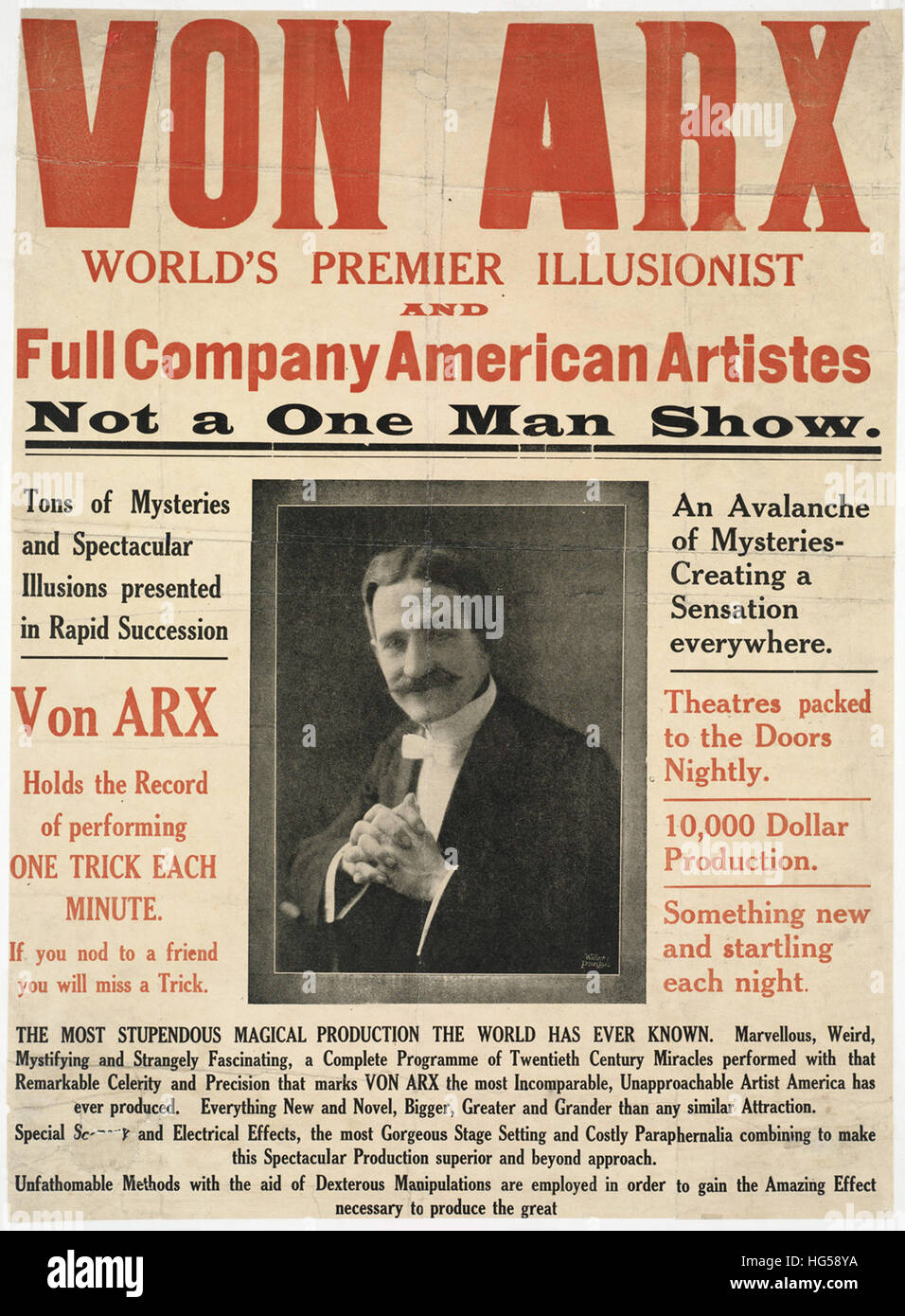 Circus Poster -  Von Arx _ World's premier illusionist and full company American Artistes. Not a one man show. - Stock Image