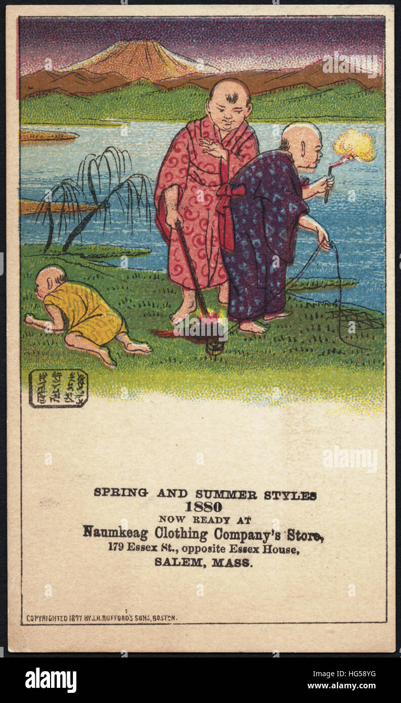 Clothing Trade Cards -  Spring and summer styles 1880, now ready at Naumkeag Clothing Company's store, 179 Essex - Stock Image