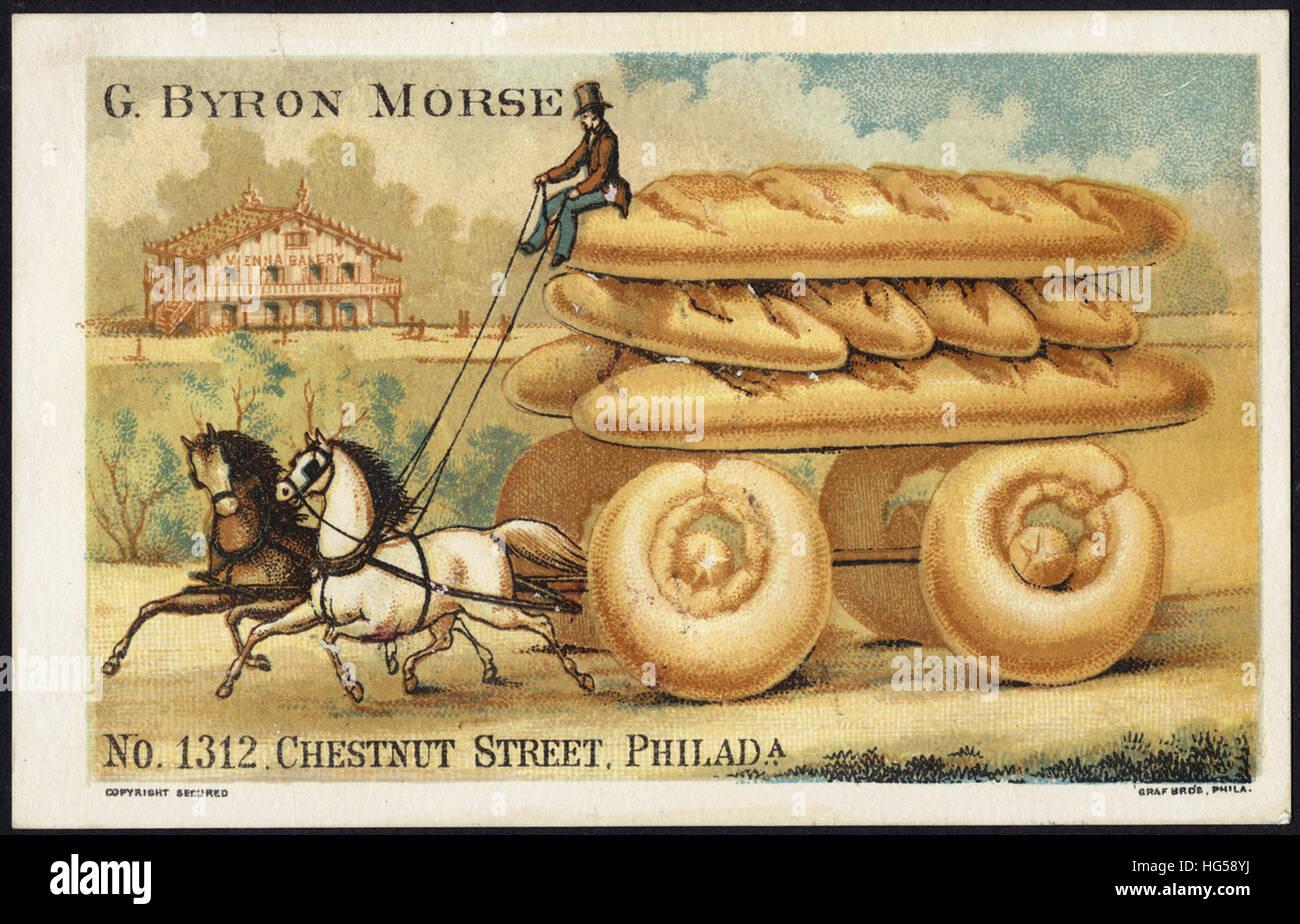 Baking Trade Card -  G. Byron Morse, No. 1312 Chestnut Street, Philada. Baker of genuine Vienna Bread Rolls, &c. - Stock Image