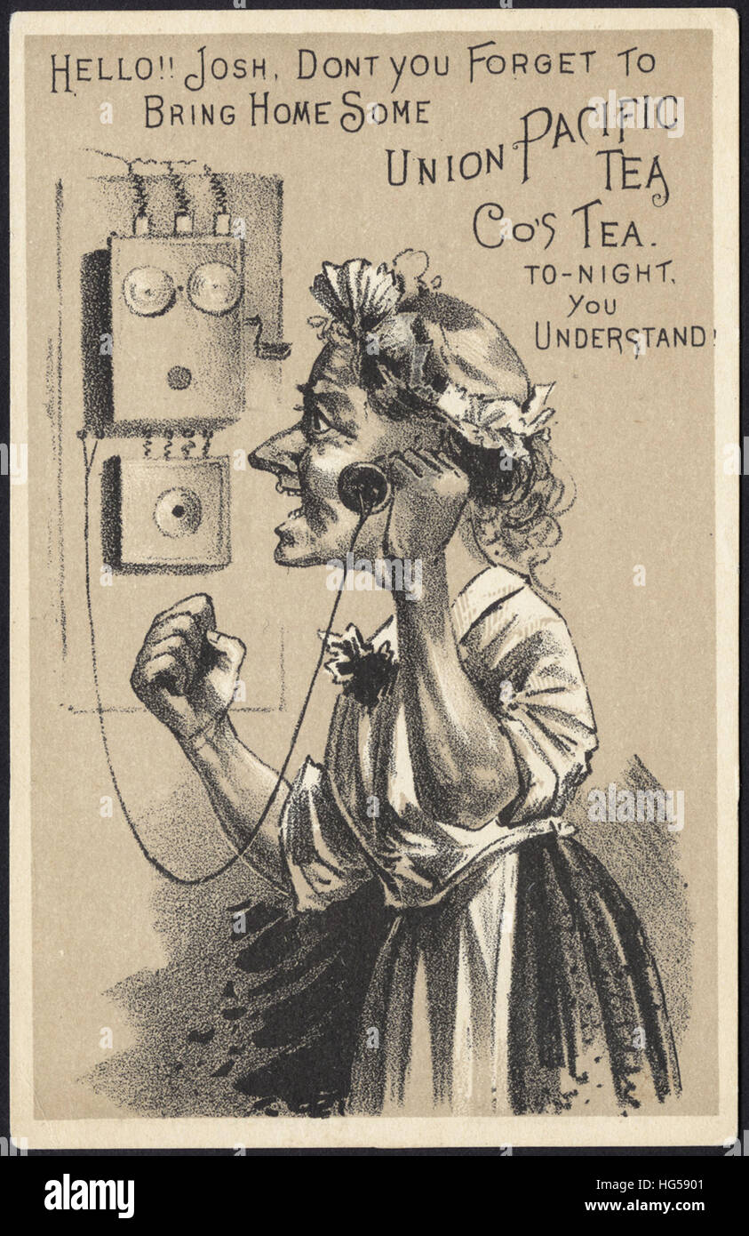 Beverage Trade Cards -  Hello!! Josh, don't you forget to bring home some Union Pacific Tea Co's Tea. To - Stock Image