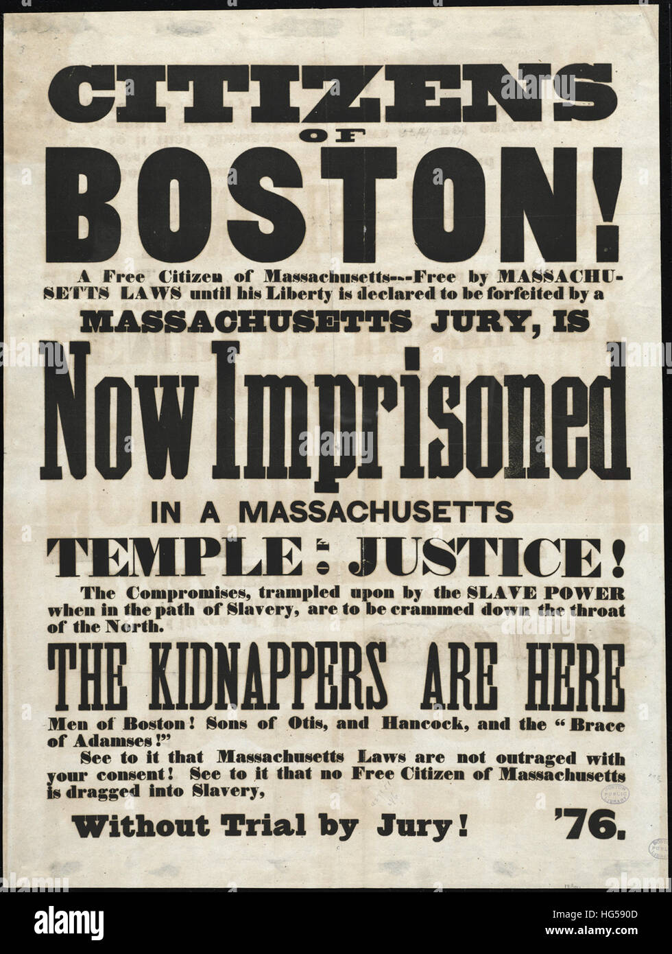 Anti-Slavery Broadsides - Circa 1850 -  Citizens of Boston! - Stock Image