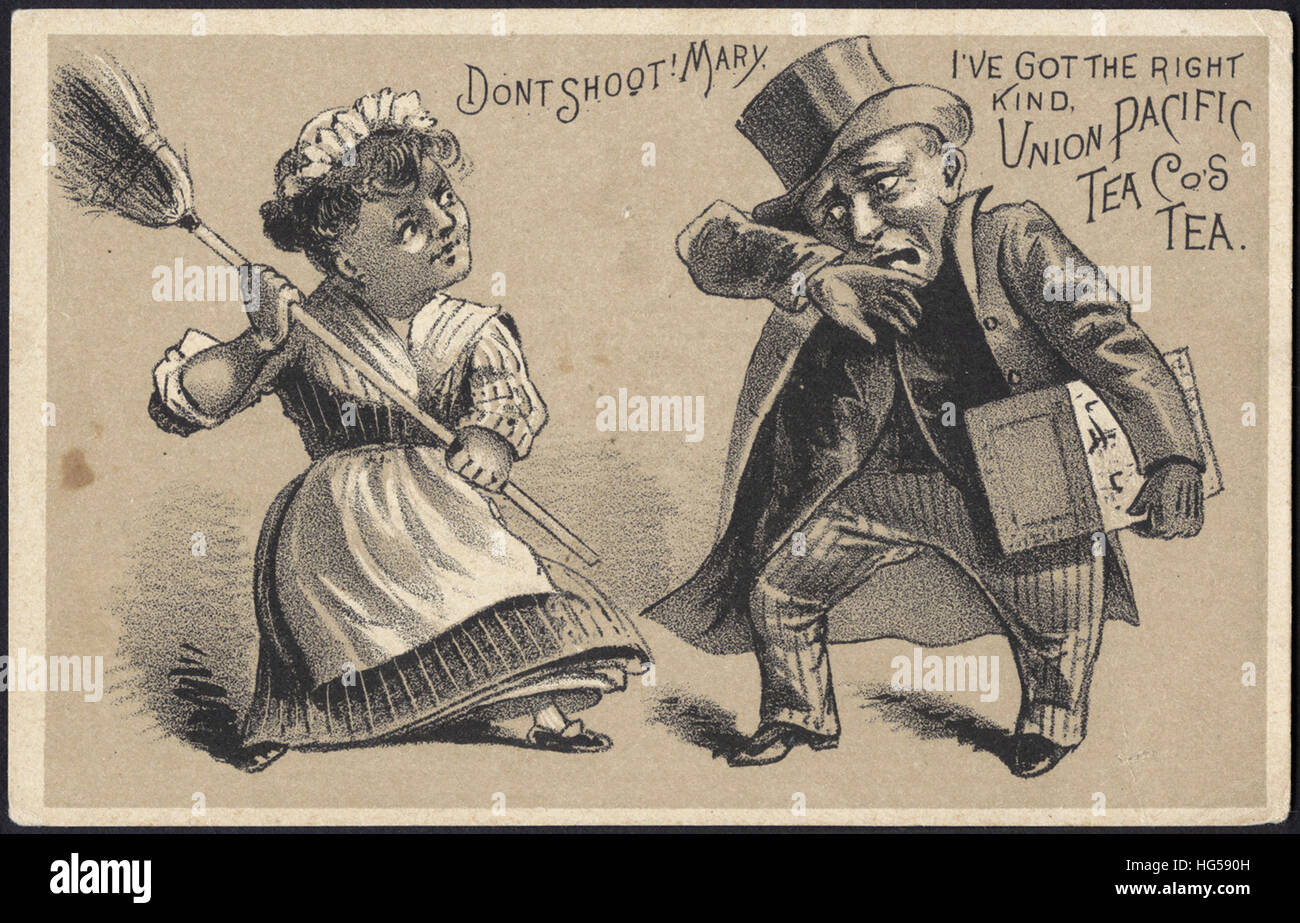 Beverage Trade Cards -  Don't shoot! Mary, I've got the right kind. Union Pacific Tea Co's tea. - Stock Image
