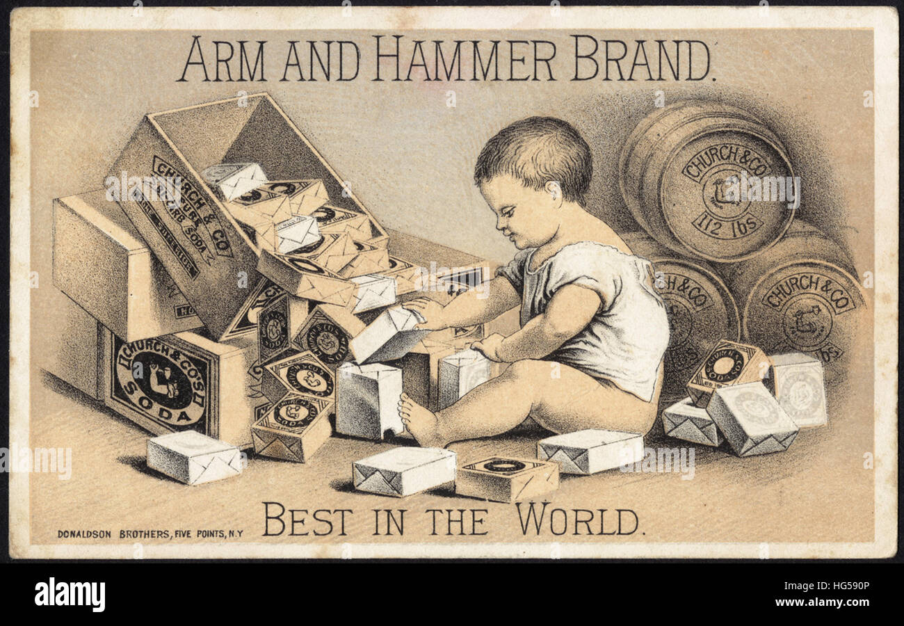 Baking Trade Card -  Arm and Hammer brand. Best in the world. Stock Photo