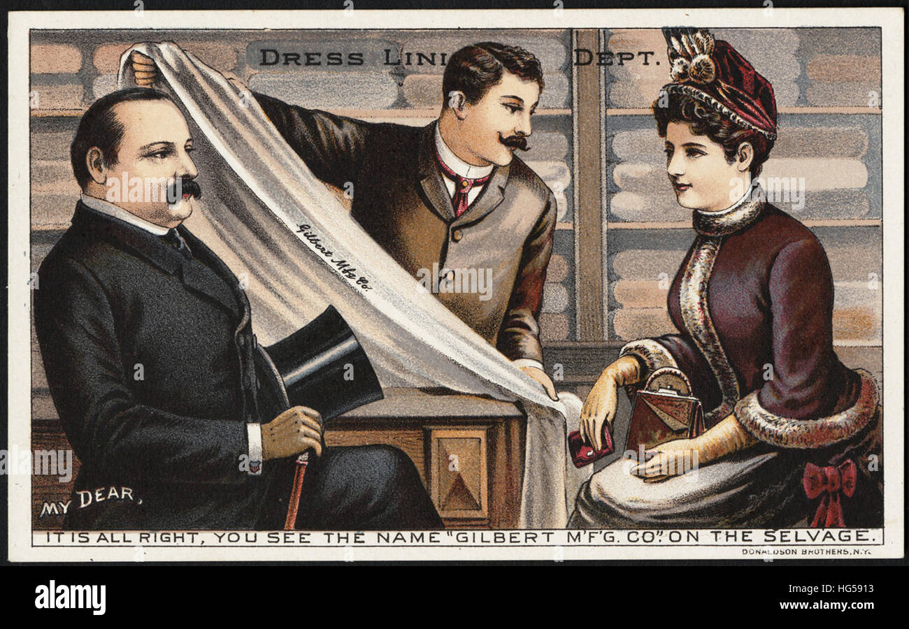 Clothing Trade Cards -  Dress lining dept. My dear, it's all right, you see the name, 'Gilbert M'f'g. - Stock Image