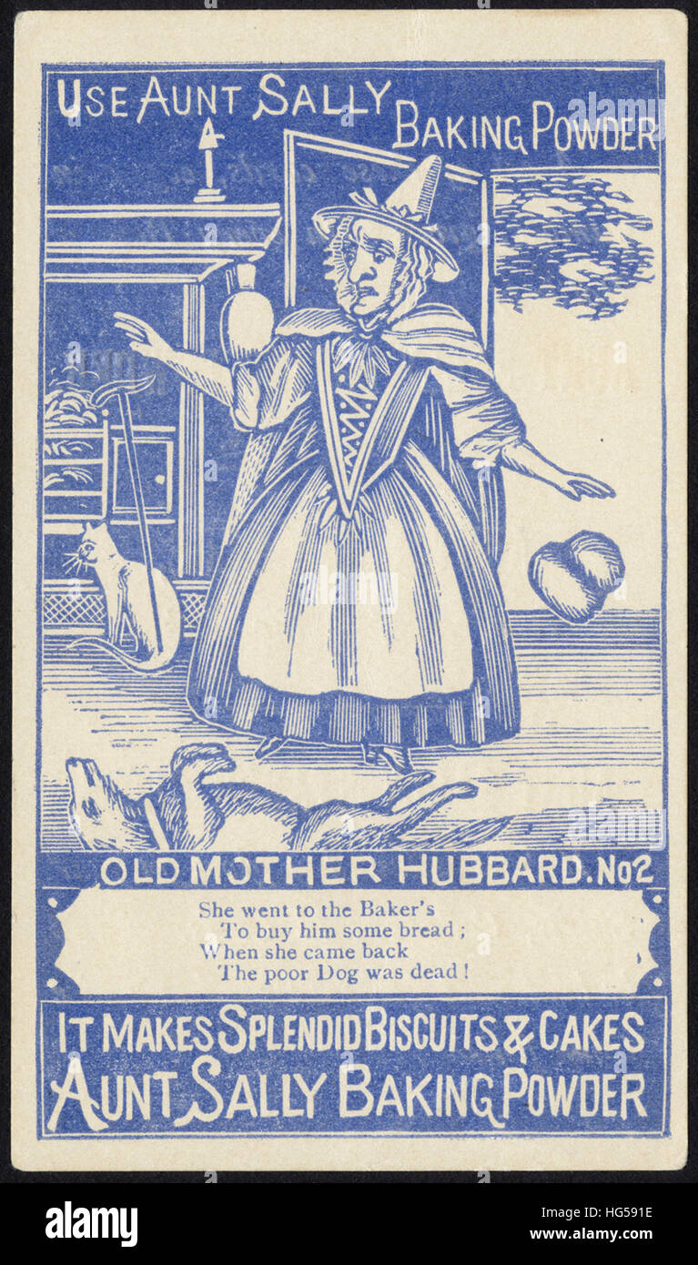 Baking Trade Card -  Use Aunt Sally Baking Powder - Old Mother Hubbard No. 2 - Stock Image