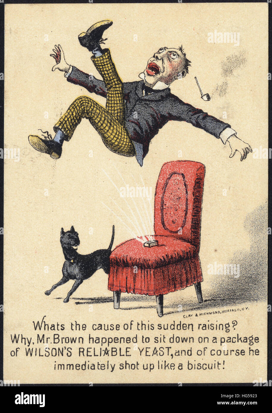 Baking Trade Card -  What's the cause of this sudden raising_ Why Mr. Brown happened to sit down on a package - Stock Image