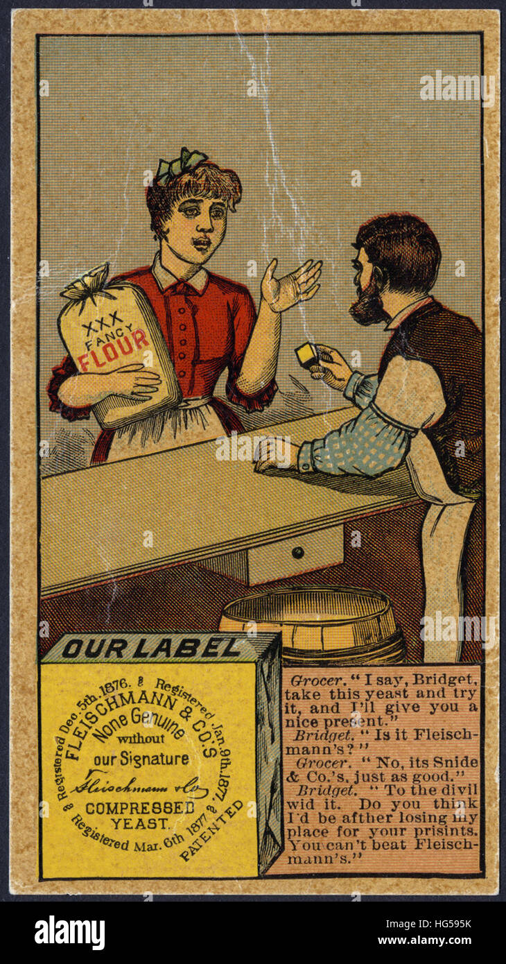 Baking Trade Card -  Grocer_ 'I say, Bridget take this yeast and try it - Stock Image