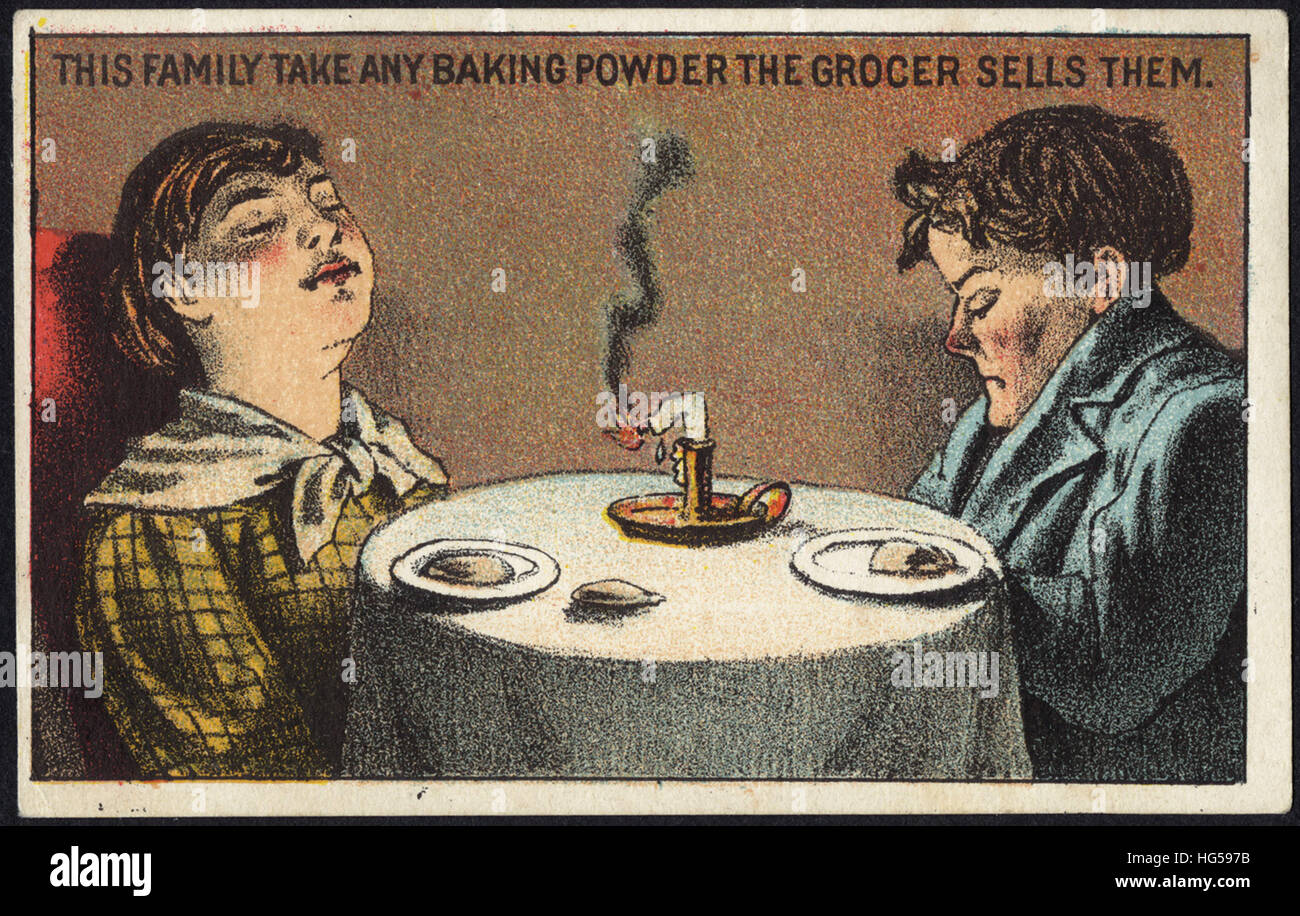 Baking Trade Card -  This family take any baking powder the grocer sells them. - Stock Image