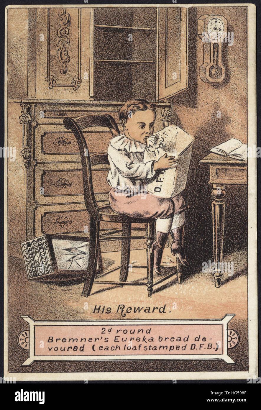 Baking Trade Card -  His reward. 2d. round Bremner's Eureka bread devoured (each loaf stamped D. F. B.) - Stock Image