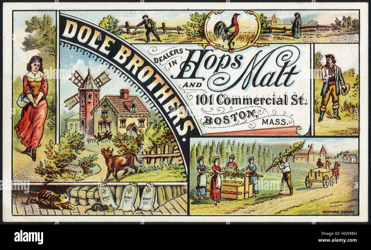 Beverage Trade Cards -  Dole Brothers. Dealers in hops and malt - Stock Image