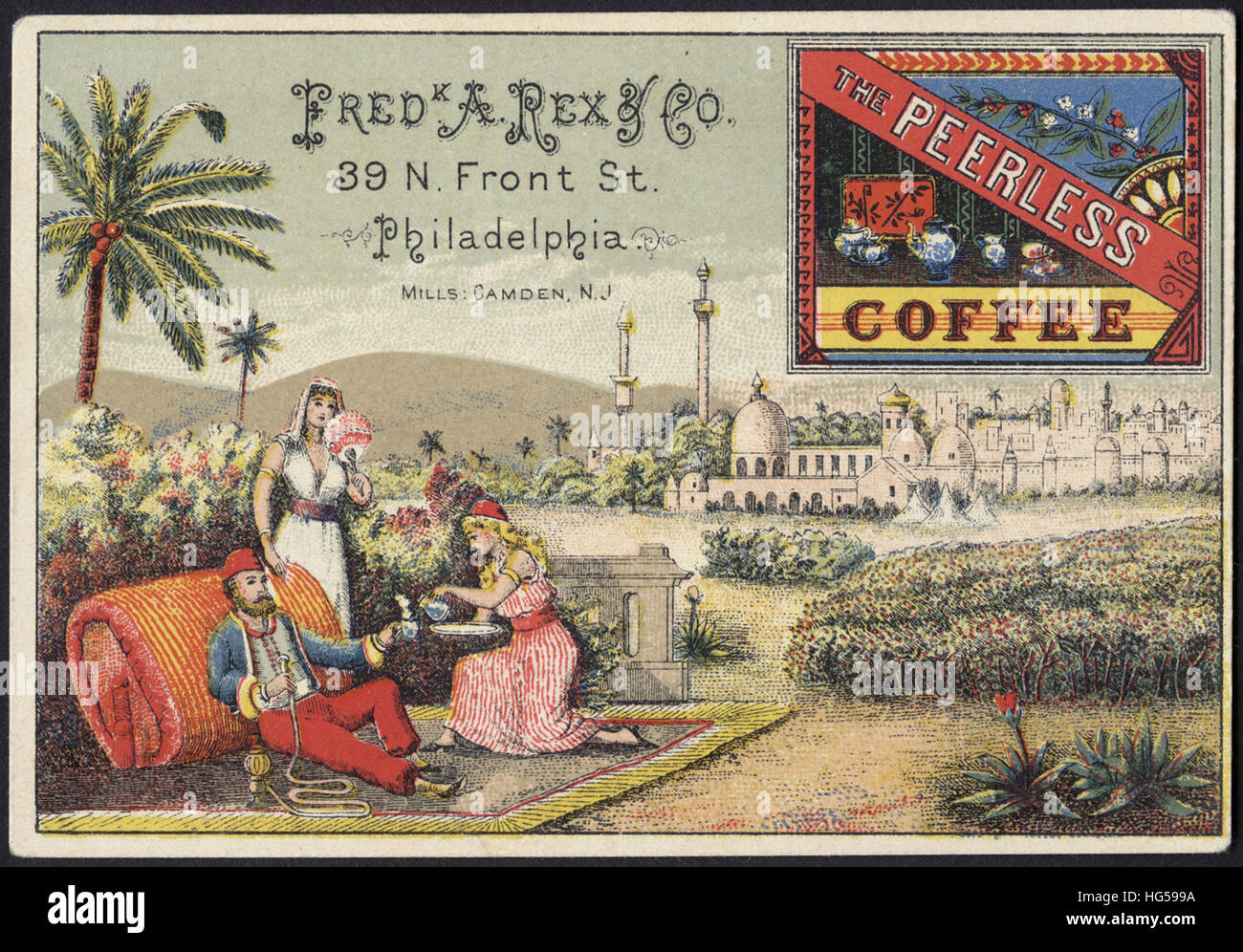 Beverage Trade Cards -  Fred K A. Rex & Co. The Peerless Coffee - Stock Image
