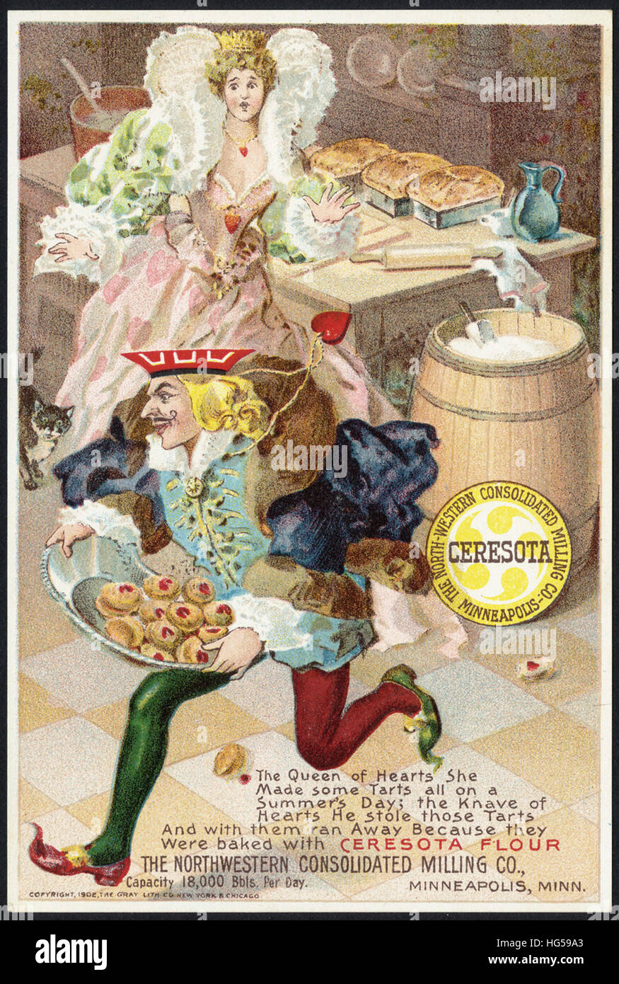 Baking Trade Card -  The Queen of Hearts she made some tarts all the summer's day - Stock Image