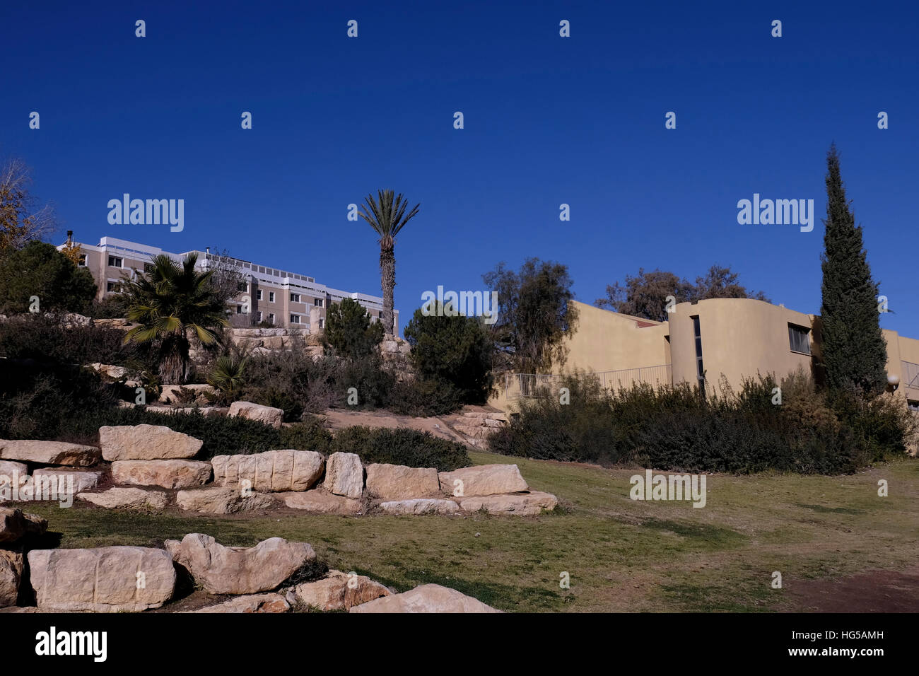 Residential buildings in Mitzpe Ramon a town in the Negev desert on 03 January 2016.  Mitzpe Ramon comprises Israel's - Stock Image