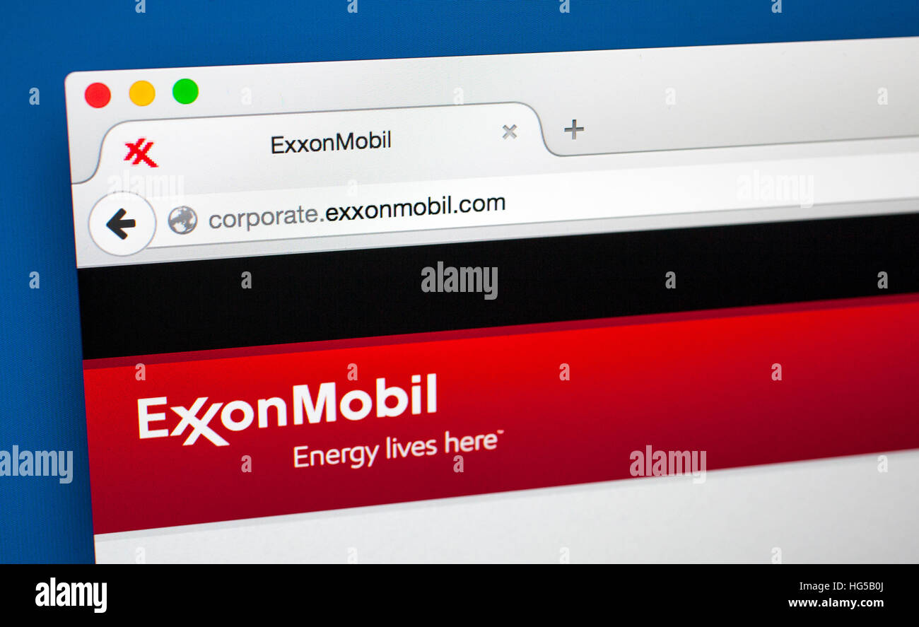 LONDON, UK - OCTOBER 20TH 2015: The homepage of the official ExxonMobil website, on 20th October 2015. - Stock Image