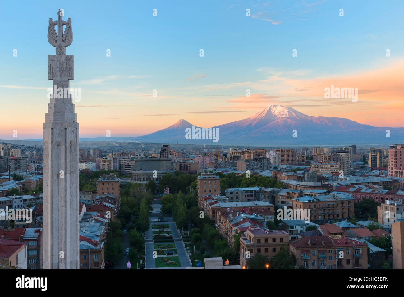 Mount Ararat and Yerevan viewed from Cascade at sunrise, Yerevan, Armenia, Central Asia, Asia - Stock Image