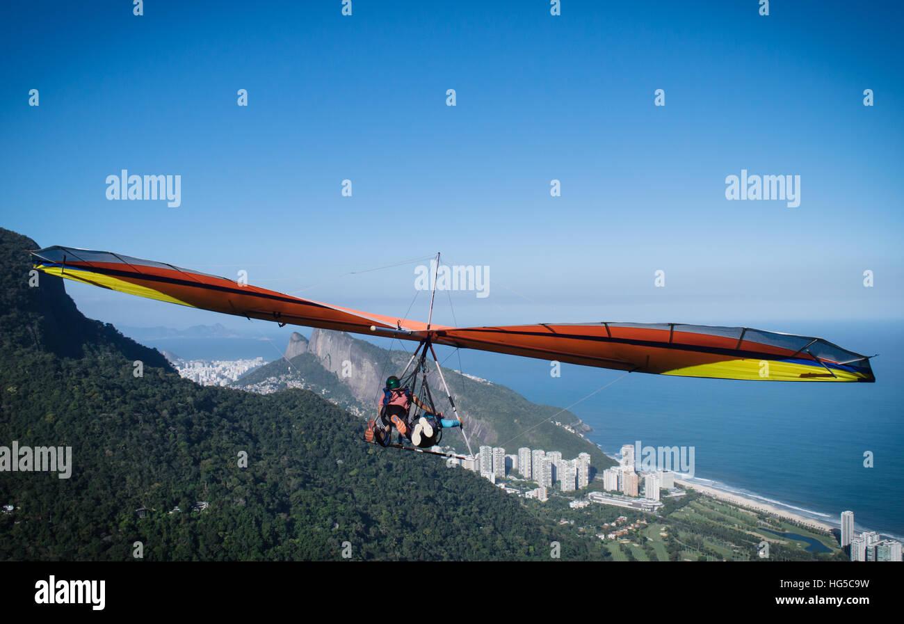 Hang gliding in Rio de Janeiro, Brazil, South America - Stock Image