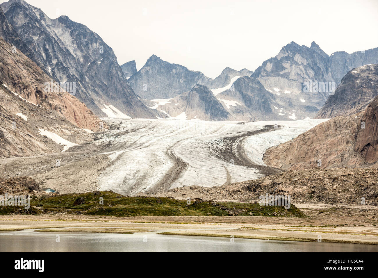 Prins Christian Sund, lateral and medial moraines on Igdlorssuit Glacier, southern Greenland, Polar Regions - Stock Image