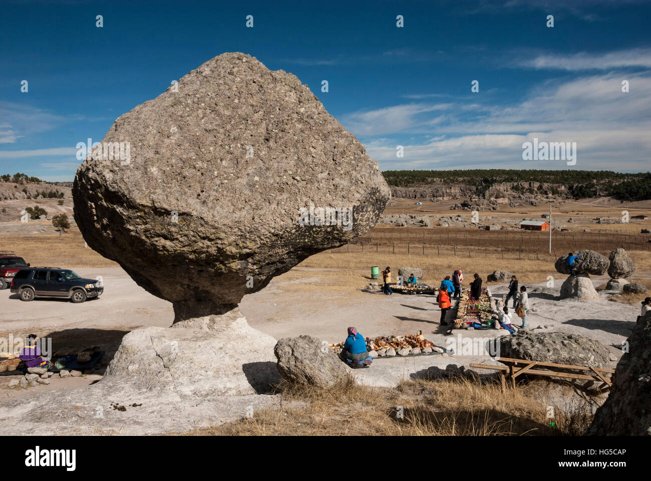 Valle de los Hongos (Mushroom Rocks) formed of volcanic ash, Creel, Chihuahua, Mexico, North America - Stock Image