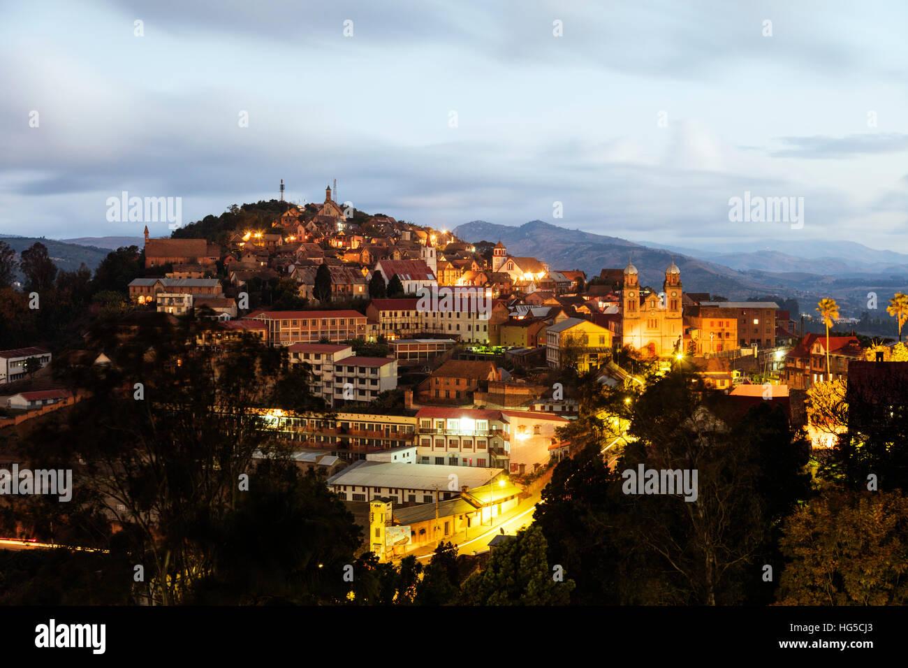 Fianarantsoa Haute Ville in the evening, central area - Stock Image