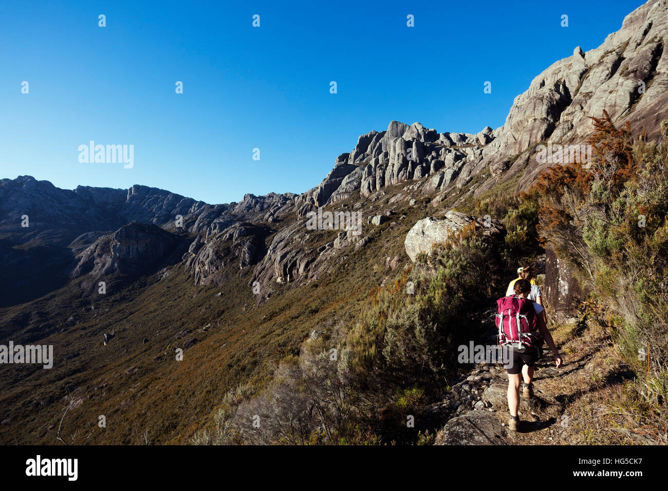 Hikers walking to Pic Boby, Andringitra National Park, Ambalavao, central area - Stock Image