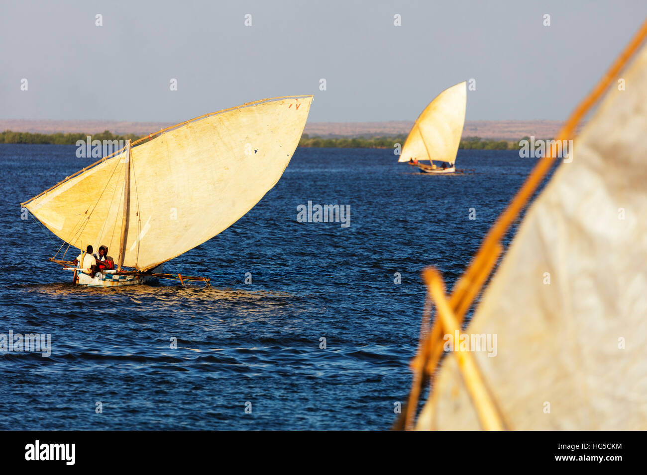 Traditional sail boats, Majunga (Mahajanga), western area - Stock Image